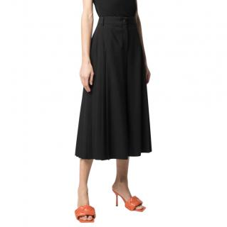 Dolce & Gabbana Black Wool Pleated High-Waisted Culottes