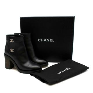 Chanel Black Calfskin CC Twist Lock Heeled Ankle Boots