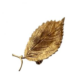 Christian Dior Vintage Gold Plated Leaf Pin Brooch