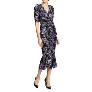 Veronica Beard Black & Purple Ruched Floral Midi Dress