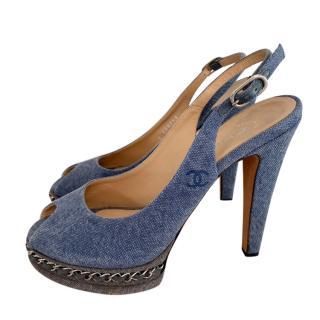 Chanel Chain Platform Denim Slingback Sandals