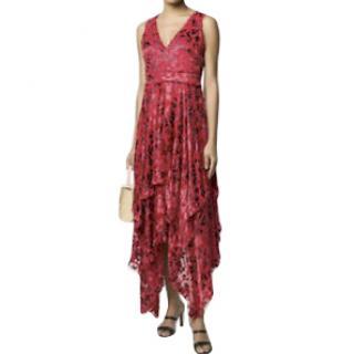 Alice + Olivia Red Flocked Velvet Midi Dress
