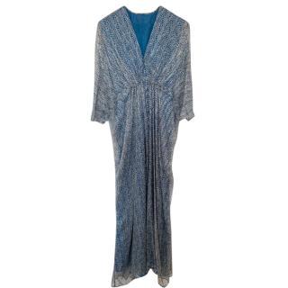 Issa Blue & White Printed Silk Gown
