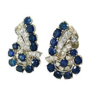 Bespoke Sapphire & Diamond Silver Art Deco Earrings