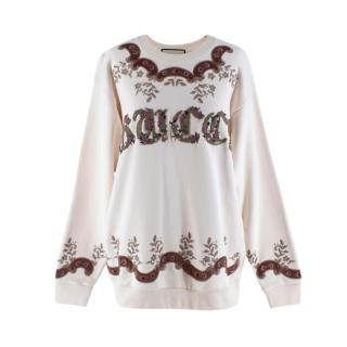 Gucci Ivory Floral Embroidered Oversized Jumper
