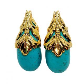 Poggi Turquoise Gold Tone Embellished Earrings