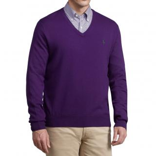 Polo Ralph Lauren Merino Wool Vneck Jumper Purple