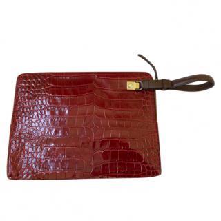 Lanvin Red Croc Embossed Wristlet Clutch