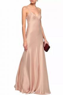 Amanda Wakeley Blush Satin Fluted Holzer Gown