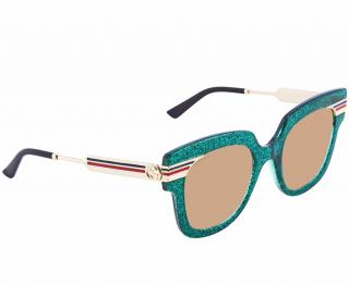 Gucci GG0281S Green Glitter Square Sunglasses