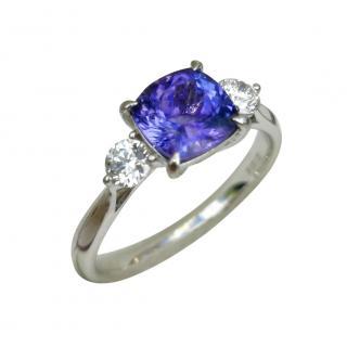 Bespoke 18ct White Gold Diamond & Tanzanite Trilogy Ring