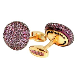 William & Son 18ct Yellow Gold Purple Sapphire Cufflinks