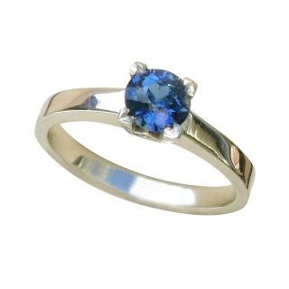 David Simmons Platinum Set Sri Lankan Sapphire Soliatire Ring