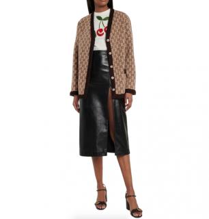 Gucci Beige/Brown Wool GG Jacquard Knit Cardigan