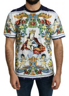 Dolce & Gabbana Mens Tile Print Mary Crew-Neck T-Shirt
