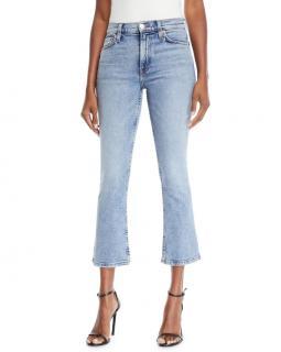 Re/Done Kick Flare Blue Stretch Denim Crop Jeans