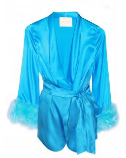 Maguy De Chadirac Blue Marabou Feather Trim Pyjama Jacket