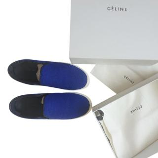 Celine Blue Felted Wool Slip-On Sneakers