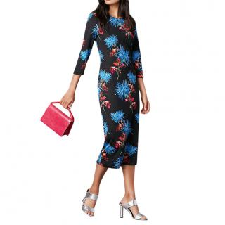 DVF Black Floral Print Saihana Dress