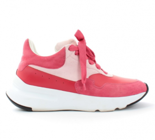 Alexander McQueen Pink Suede & Leather Chunky Sneakers