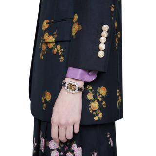 Gucci Crystal Embellished GG Leather Bracelet