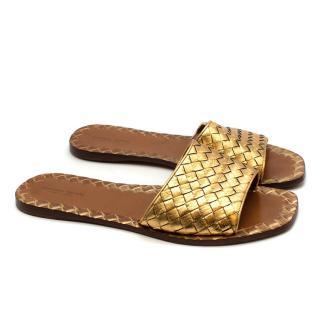 Bottega Veneta Gold Leather Intrecciato Flat Sandals