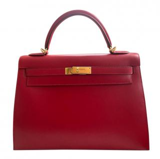 Hermes Rouge Vif Tadelakt Leather Kelly Sellier 32 GHW