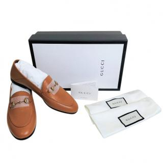 Gucci Cognac Leather Brixton Loafers