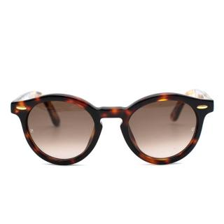 Linda Farrow Luxe Kid's Brown Tortoiseshell Round Sunglasses