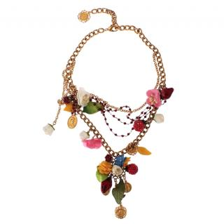Dolce & Gabbana Fruits & Floral Coin Charm necklace