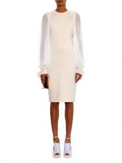 Givenchy Ivory/White Chiffon Sleeve Knit Dress