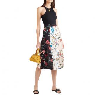 Maje Crepe De Chine Floral Print Midi Skirt