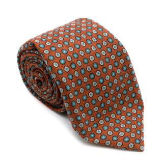 Marzullo Orange & Green Floral Wool Tie