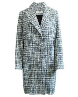 Lanvin Blue Boucle Tweed Tailored Coat