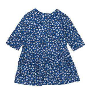 Bonpoint Blue Squirrel Print Cotton Dress
