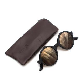Nuiit Black Textured Mirrored Round Nuuak Sunglasses