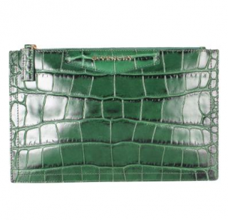 Givenchy Green Crocodile Embossed Zip Pouch