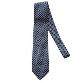 Ferragamo Blue Printed Silk Men's Tie