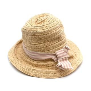Bonpoint Paper Straw Pink Stripe Ribbon Hat
