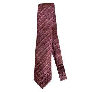 Ermenegildo Zegna Red & Grey Silk Tie