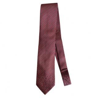 Ermenegildo Zegna Red & Grey Silk Tie