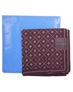 Celine Brown Printed Silk Pocket Square/Handkerchief