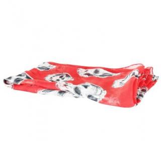 Alexander McQueen Red Silk Skull & Snake Print Scarf 130cm