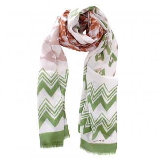 Etro White & Green Wool & Silk Scarf