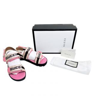 Gucci Logo Strap Pink Sandals