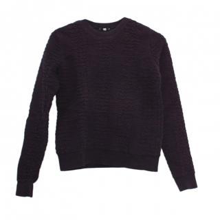 Kenzo Blue Cotton Blend Textured Sweatshirt