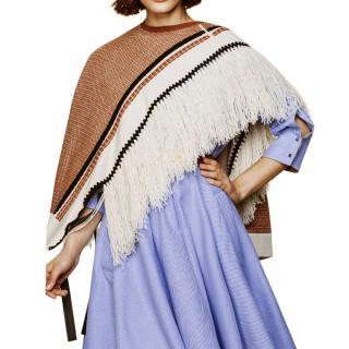 Dorothee Schumacher Virgin Wool Blend Asymmetric Fringe Cape