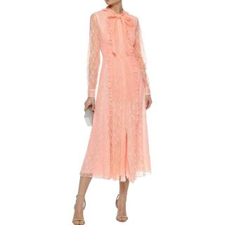 Mikael Aghal Ruffle Trim Pussy Bow Lace Dress