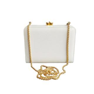 Gucci Vintage White Leather Shoulder Bag