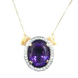 Bespoke VIntage Amethyst & Diamond Pendant Necklace
